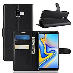 halpa Uudet tuotteet-Etui Käyttötarkoitus Samsung Galaxy J6 / J4 Lomapkko / Korttikotelo / Flip Suojakuori Yhtenäinen Kova PU-nahka varten J8 (2018) / J7 (2018) / J6 (2018)