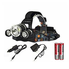 お買い得  ヘッドランプ-ヘッドランプ LED エミッタ 6000 lm 1 照明モード バッテリー&チャージャー付き ズーム可能, 防水, 充電式 キャンプ / ハイキング / ケイビング, 日常使用, ダイビング / ボーティング ブラック