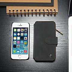お買い得  iPhone 5S/SE ケース-CaseMe ケース 用途 Apple iPhone 5ケース カードホルダー / スタンド付き / フリップ フルボディーケース ソリッド ハード PUレザー のために iPhone SE / 5s / iPhone 5