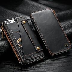 Недорогие Кейсы для iPhone-CaseMe Кейс для Назначение Apple iPhone 8 Plus / iPhone 7 Plus Кошелек / Бумажник для карт / Защита от удара Чехол Однотонный Твердый Кожа PU для iPhone 8 Pluss / iPhone 7 Plus