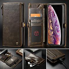 Недорогие Кейсы для iPhone 6 Plus-CaseMe Кейс для Назначение Apple iPhone XS Max / iPhone 7 Plus Кошелек / Бумажник для карт / со стендом Чехол Однотонный Твердый Кожа PU для iPhone XR / iPhone XS Max / iPhone 8 Pluss