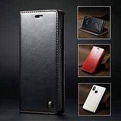 Недорогие Чехлы и кейсы для Xiaomi-CaseMe Кейс для Назначение Xiaomi Mi 8 Кошелек / Бумажник для карт / со стендом Чехол Однотонный Твердый Кожа PU для Xiaomi Mi 8 / Xiaomi Mi 5