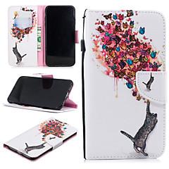 Недорогие Кейсы для iPhone-Кейс для Назначение Apple iPhone XS Max Кошелек / Бумажник для карт / Защита от удара Чехол Кот / Бабочка Твердый Кожа PU для iPhone XS Max