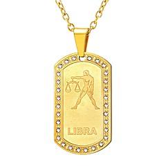 お買い得  ネックレス-U7 1個 ステンレス鋼 アウトドア にとって ゴールド ブラック シルバー / 女性用 / ペンダントネックレス / 十二宮 / ペンダントネックレス