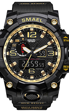 cheap -SMAEL Men's Sport Watch Military Watch Digital Watch Japanese Digital Quilted PU Leather Silicone Black / Red / Orange 50 m Water Resistant / Waterproof Calendar / date / day Chronograph Analog