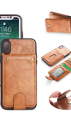 cheap -Case For Apple iPhone X / iPhone 8 Wallet / Card Holder / with Stand Full Body Cases Solid Colored Hard PU Leather for iPhone X / iPhone 8 Plus / iPhone 8