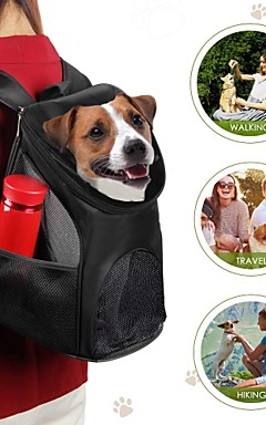 رخيصةأون -قط كلب الحاملة حقائب تحمل على الظهر وللسفر حيوانات أليفة حاملات المحمول متنفس لون سادة أحمر أزرق أسود