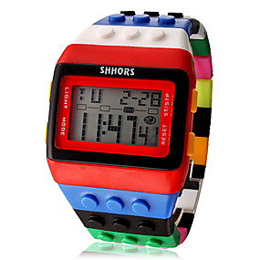 billige Kvinders digitale ure-Dame Damer Digital Watch Square Watch Digital Alarm Kalender Kronograf Digital Slik Mode Træ - Gul Rød To år Batteri Levetid / LCD / Desay CR2025