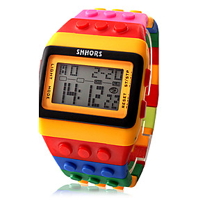 billige Kvinders digitale ure-Dame Digital Watch Square Watch Digital Alarm Kalender Kronograf Digital Damer Slik Mode Træ - Orange To år Batteri Levetid / LCD / Desay CR2025