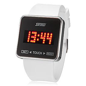 voordelige Merk Horloge-SKMEI Heren Polshorloge Digitaal horloge Square Watch Digitaal Silicone Zwart / Wit Aanraakscherm Kalender LED Digitaal Dames Amulet - Wit Zwart Twee jaar Levensduur Batterij / Maxell626 + 2025