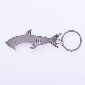 cheap Toy & Game-The Shark Shape Metal Silver Keychain Toys
