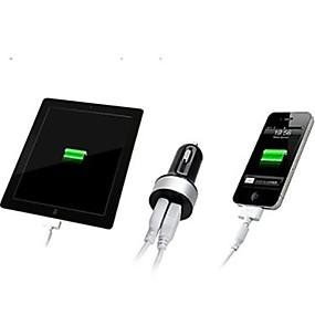 baratos Google-Carregador de carro dual usb carregador multi portas 2 portas usb 2.1 a / 1 a dc 12v-24v para iphone celular tablet