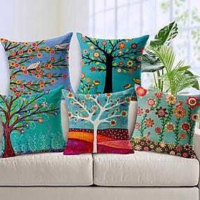 baratos Casa & Cozinha-Pacote de 5, estilo pastoral de algodão lençóis de algodão decorativo quadrado lance capas de almofadas set coxim para sofá quarto carro