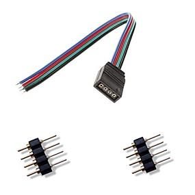 billige Lampesokler-femal 4pin farverige førte lys-stik + 2 x 4pin mandlige stik til rgb 5050/3528 LED strip lys forbinde