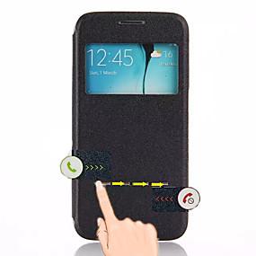 halpa Galaxy S -sarjan kotelot / kuoret-Cwxuan Etui Käyttötarkoitus Samsung Galaxy Samsung Galaxy kotelo Tuella / Ikkunalla / AutomAutomaattinen auki / kiinni Suojakuori Yhtenäinen PU-nahka varten S6 edge