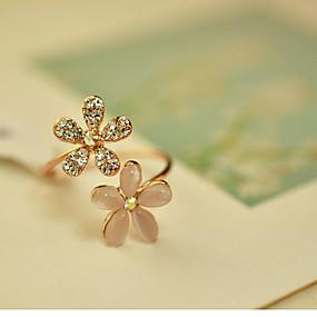 billige Blomstersmykker-Dame Statement Ring Kvadratisk Zirconium Opal Simuleret diamant Blomst Damer Moderinge Smykker Guld Til Fest En størrelse / Legering