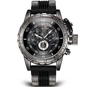 voordelige Merk Horloge-V6 Heren Militair horloge Polshorloge Luchtvaart Watch Kwarts Japanse quartz Silicone Zwart / Wit / Blauw Schuifmaat Analoog Amulet - Zwart Grijs Blauw Twee jaar Levensduur Batterij / Roestvrij staal