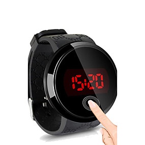 billige Daglige tilbud-Herre Armbåndsur Digital Watch Digital Silikone Sort Vandafvisende Touch-skærm Kreativ Digital Sort Sort / Hvid Hvid / Sølv To år Batteri Levetid / LED / Panasonic CR2032
