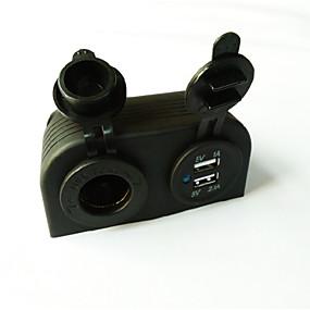 voordelige Autoladers-5v 3.1a autolader twee-gats paneel met dubbele usb-poorten sigarettenaansteker vrachtwagen auto motorfiets stopcontact