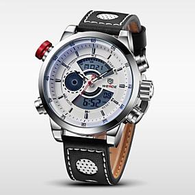 voordelige Merk Horloge-WEIDE Heren Polshorloge Digitaal horloge Kwarts Digitaal Leer Zwart 30 m Waterbestendig Alarm Kalender Analoog-Digitaal Amulet - Zilver / Zwart Wit / Zilver / Roestvrij staal / Chronograaf / LCD