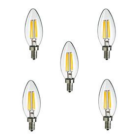 Χαμηλού Κόστους Λαμπτήρες LED με νήμα πυράκτωσης-HRY 5pcs 2.5 W LED Λάμπες Πυράκτωσης 250 lm E14 CA35 4 LED χάντρες LED Υψηλης Ισχύος Διακοσμητικό Θερμό Λευκό Ψυχρό Λευκό 220-240 V / 5 τμχ / RoHs / CCC
