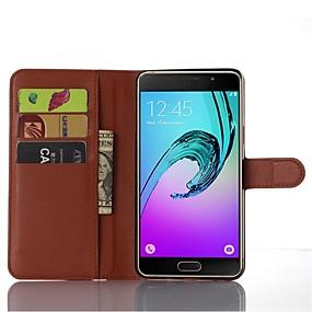 voordelige Galaxy A8 Hoesjes / covers-hoesje Voor Samsung Galaxy A9 Kaarthouder / met standaard / Flip Volledig hoesje Effen Kleur PU-nahka