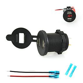 voordelige Autoladers-iztoss autolader 2.1a dual usb oplader telefoon oplader stopcontact met voltmeter licht en 15cm snoeren