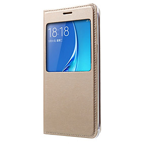 voordelige Galaxy J5 Hoesjes / covers-hoesje Voor Samsung Galaxy J7 (2016) / J7 / J5 (2016) met venster / Flip Volledig hoesje Effen Hard PU-nahka