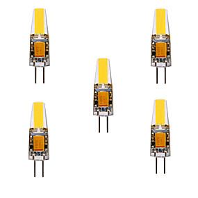 billige Multipakke m. lyspærer-ywxlight® 5stk 5w 200-300lm g4 ledet bi-pin lys cob chip 360 strålevinkel lamper erstatte 30w halogen g4 spotlight ac / dc12-24v