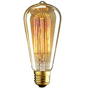Χαμηλού Κόστους Λαμπτήρες πυράκτωσης-1pc 40W E26 / E27 ST64 Θερμό Λευκό 2300k Ρετρό Με ροοστάτη Διακοσμητικό Λαμπτήρας πυρακτώσεως Vintage Edison 220-240V
