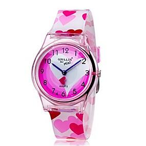 abordables Montres Fille-Montre Quartz Rose Cool Coloré Analogique dames Heart Shape Bonbon Simple Mode - Rose