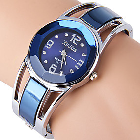 זול שעונים אופנתיים-בגדי ריקוד נשים נשים שעוני יוקרה שעון צמיד יהלוםSimulated שעון קווארץ מתכת אל חלד שחור / כחול ריינסטון חיקוי יהלום אנלוגי צמיד אופנתי שעוני שמלה - שחור כחול נייבי שנה אחת חיי סוללה / SSUO LR626
