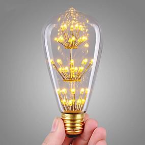 Χαμηλού Κόστους Λαμπτήρες LED με νήμα πυράκτωσης-1pc 3 W LED Λάμπες Πυράκτωσης 200 lm E26 / E27 ST64 47 LED χάντρες COB Με ροοστάτη Διακοσμητικό Έναστρος Θερμό Λευκό 220-240 V / RoHs