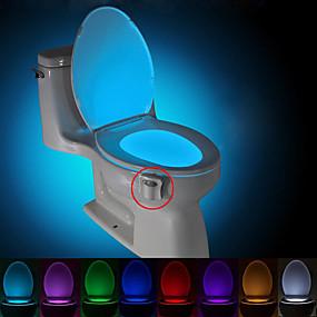 Недорогие Оригинальные LED лампы-Brelong 1 шт. 8-цветный датчик движения человека пир туалет ночной свет