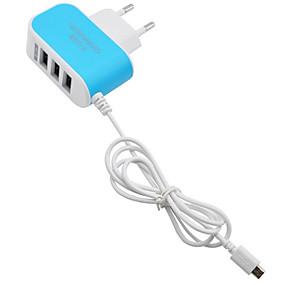 billige Normale opladere-hjem oplader / bærbar oplader micro usb kabel oplader eu plug hurtig opladning / multi port 3 usb porte 3.1 a til mobiltelefon