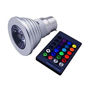 billige Lyspærer til pyntebelysning-1pc 3 W LED-spotlys 120 lm E14 GU10 B22 1 LED Perler Højeffekts-LED Dæmpbar Fjernstyret Dekorativ RGB 85-265 V / 1 stk. / RoHs
