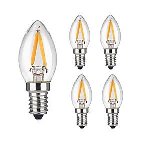 Χαμηλού Κόστους Λαμπτήρες LED με νήμα πυράκτωσης-KWB 5pcs 2 W LED Λάμπες Πυράκτωσης 180 lm E14 2 LED χάντρες COB Με ροοστάτη Διακοσμητικό Θερμό Λευκό 220-240 V / 5 τμχ / RoHs
