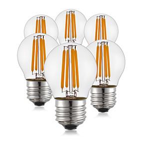 Χαμηλού Κόστους Λαμπτήρες LED με νήμα πυράκτωσης-KWB 6pcs LED Λάμπες Πυράκτωσης 400 lm E26 / E27 G45 4 LED χάντρες COB Θερμό Λευκό 220-240 V / 6 τμχ / RoHs