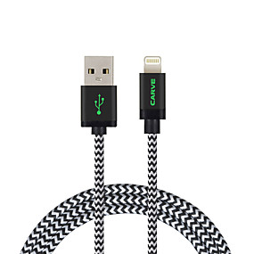 billige CARVE-Belysning Kabel 1m-1.99m / 3ft-6ft Flettet Nylon USB-kabeladapter Til iPad / Apple / iPhone