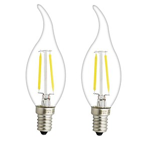 ieftine Lămpi Cu Filament LED-ONDENN 2pcs 3 W Bec Filet LED 300 lm E14 E12 CA35 2 LED-uri de margele COB Intensitate Luminoasă Reglabilă Alb Cald 220-240 V 110-130 V / 2 bc / RoHs