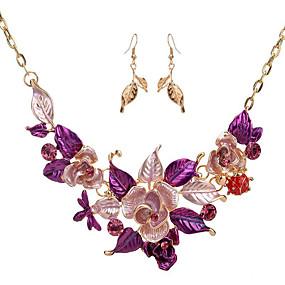 billige Blomstersmykker-Dame Vintage halskjede Blomst Blomst damer øredobber Smykker Lilla / Blå Til Bryllup Fest Spesiell Leilighet Gave Daglig Maskerade