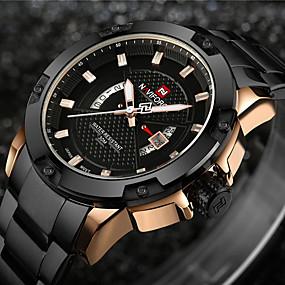 ieftine Ceasuri de Marcă-NAVIFORCE Bărbați Ceas Sport Ceas Militar  Ceas de Mână Japoneză Quartz Oțel inoxidabil Negru / Argint 30 m Rezistent la Apă Calendar Creative Analog - Digital Charm Lux Vintage Casual Modă - Auriu
