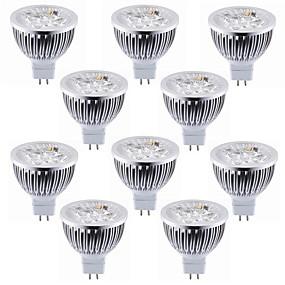 olcso Professzionális világítás-10pcs 5.5 W LED szpotlámpák 450-500 lm MR16 4 LED gyöngyök Nagyteljesítményű LED Dekoratív Meleg fehér Hideg fehér 12 V / RoHs