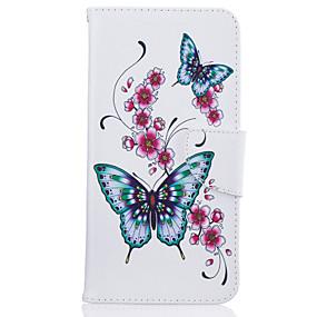 abordables Coques d'iPhone-Coque Pour iPhone 7 / iPhone 7 Plus / iPhone 6s Plus Portefeuille / Porte Carte / Avec Support Coque Intégrale Papillon / Fleur Dur faux cuir pour iPhone SE / 5s