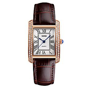Недорогие Фирменные часы-Жен. Эксклюзивные часы Наручные часы Diamond Watch Японский Кварцевый Кожа Черный / Белый / Красный 30 m Защита от влаги Cool Аналоговый Дамы Мода - Черный Коричневый Красный / Два года / Два года