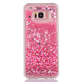 voordelige Galaxy S7 Hoesjes / covers-hoesje Voor Samsung Galaxy S8 Plus / S8 / S7 edge Stromende vloeistof / Transparant / Patroon Achterkant Hart / Glitterglans Zacht TPU