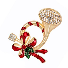 abordables Bijoux de Noël-Femme Diamant synthétique Broche Fin Broche Bijoux Dorée Pour Noël Quotidien