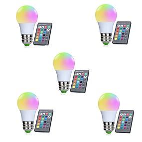 levne LED Smart žárovky-5pcs 3W 250lm E26 / E27 LED chytré žárovky 10 LED korálky SMD 5050 Infračervený senzor / Stmívatelné / Dálkové ovládání RGBW 85-265V