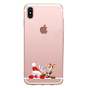 Недорогие Модные популярные товары-Кейс для Назначение Apple iPhone X / iPhone 8 Прозрачный / С узором Кейс на заднюю панель Мультипликация / Рождество Мягкий ТПУ для iPhone XS / iPhone XR / iPhone XS Max
