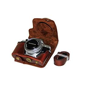 abordables Accesorios de Portátil-de cámara de cuero cubierta de la bolsa de la PU caso dengpin® para Olympus E-m10 Mark II mark2 EM10 (lente 14-42mm ez (colores surtidos)